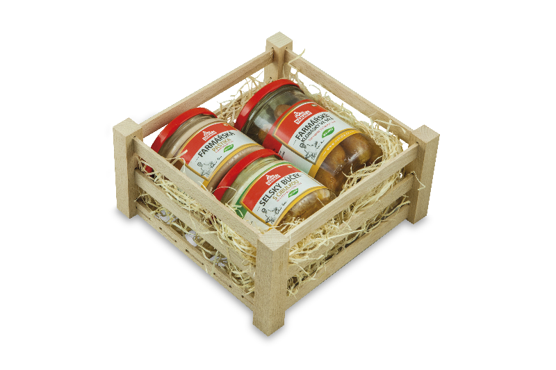 Wooden box with sausage